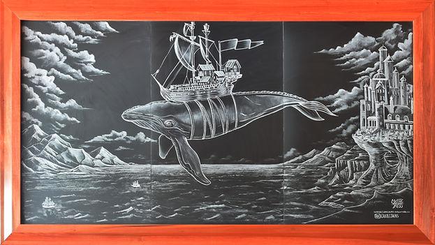 Lark On The Park Chalkboard Mural Whale