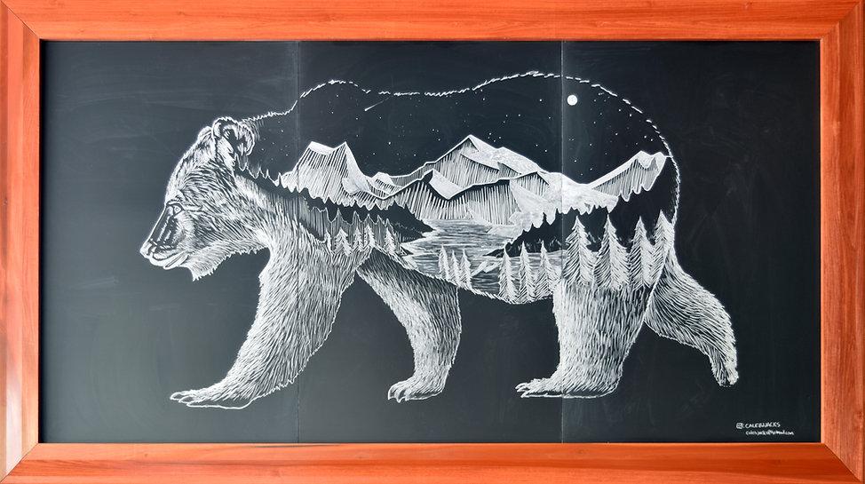 Lark On The Park Chalk Mural Wilderness Bear