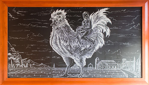 Lark On The Park Chalk Mural Rooster