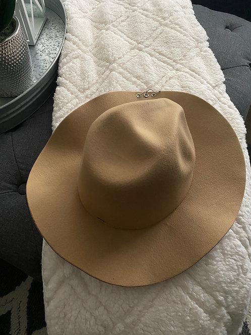 Tan Wool Floppy Brim O Ring Accents Hat