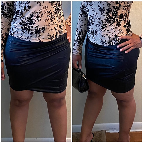 """""""Let's Slide"""" Crocodile Embossed Wrap BodyCon Skirt (Top not included)"""