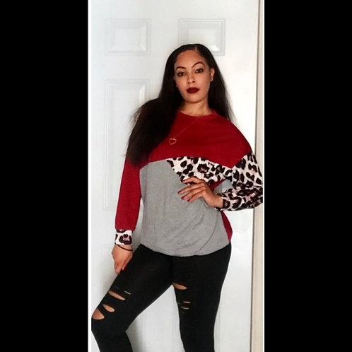 Leopard Print Colorblock Sweatshirt