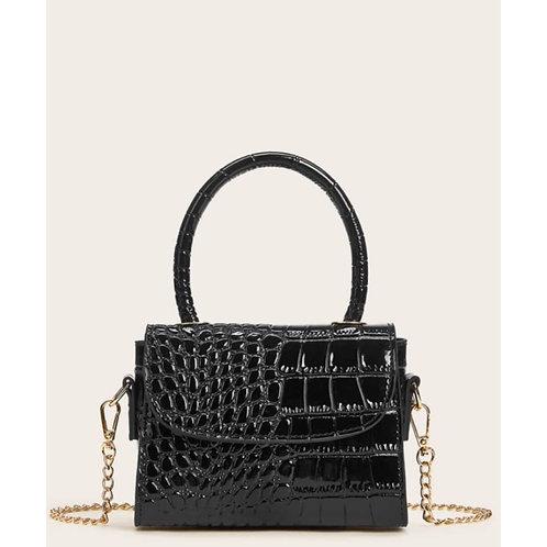 Black Mini Croc Embossed Chain Flap Satchel Bag