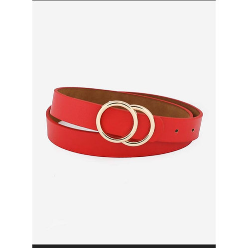 Red Metal Ring Buckle Belt