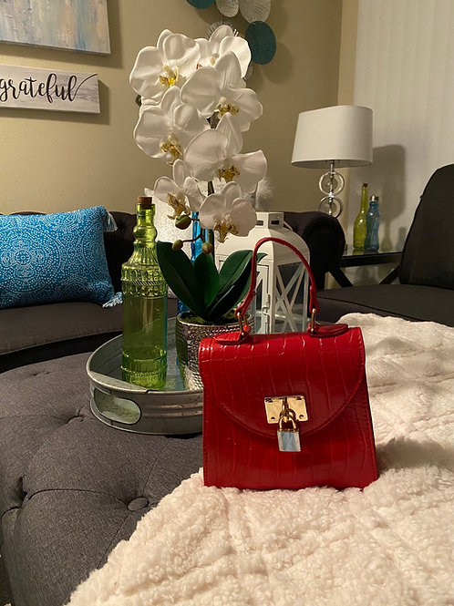 Red Mini Croc Embossed Satchel Bag