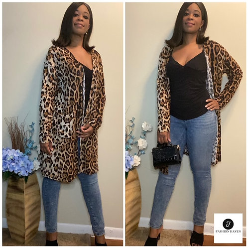 """""""TRY ME AND SEE"""" Open Placket Pocket Front Leopard Coat"""