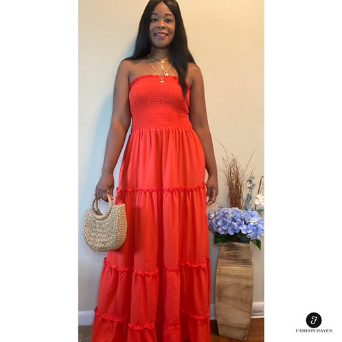 """""""On a Mission"""" Bandeau Top Layered Ruffles Skirt"""