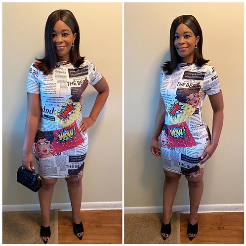 """""""Read All About It"""" Newspaper Mock Neck BodyCon Dress"""
