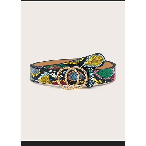 Multi Color Snakeskin Pattern Two Ring Metal Buckle Belt