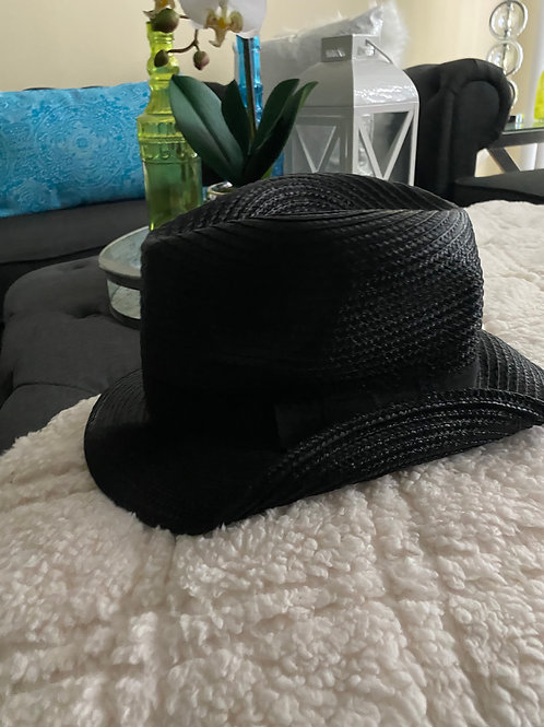 Black Bow Accent Stylish Straw Fedora Hat