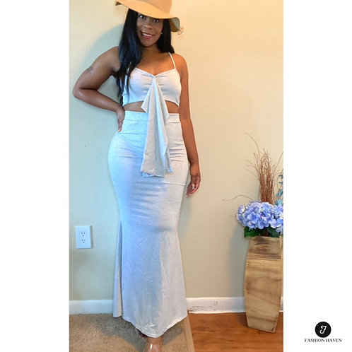 """""""Ready or Not"""" Knotted Crop Top & Maxi Skirt Set"""
