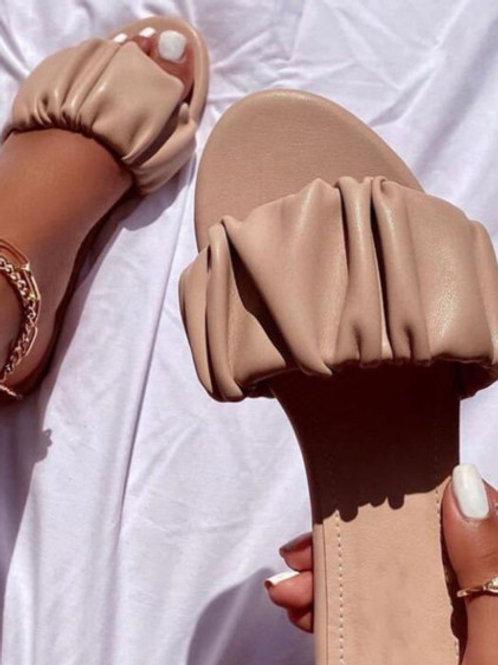 Fashion Haven Fold Design Apricot Slippers
