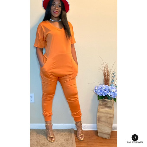 """""""Jumping for Joy""""  Short Sleeve Jumpsuit with Pockets"""