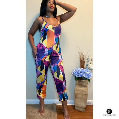 """""""Summer"""" Multicolor Sleeveless Jumpsuit with Pockets"""