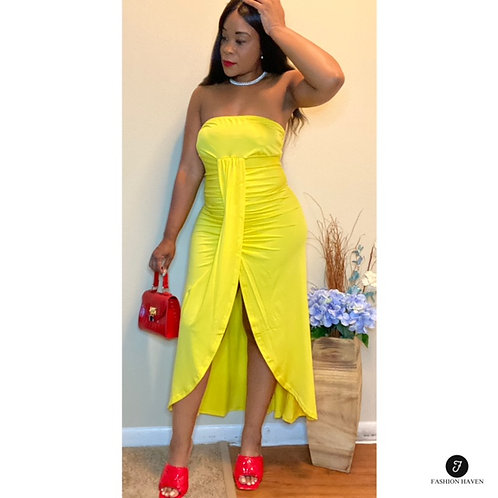 """""""So Focused""""  Ruched Slit Casual Tube Dress"""