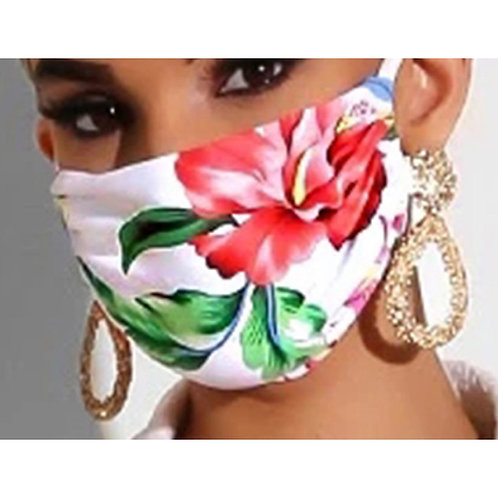 Mask - Red Flower Print