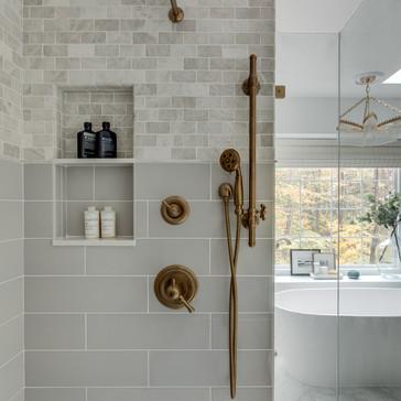 A modern spa-like master bathroom retreat designed by Erika Jayne Design, a Maryland based interior design firm serving the Washington, DC area.