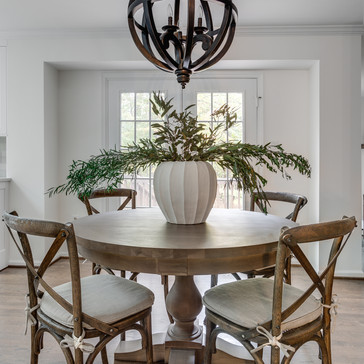 Farmhouse chic eat-in kitchen designed by Erika Jayne Design, a Maryland based interior design firm serving the Washington, DC area.