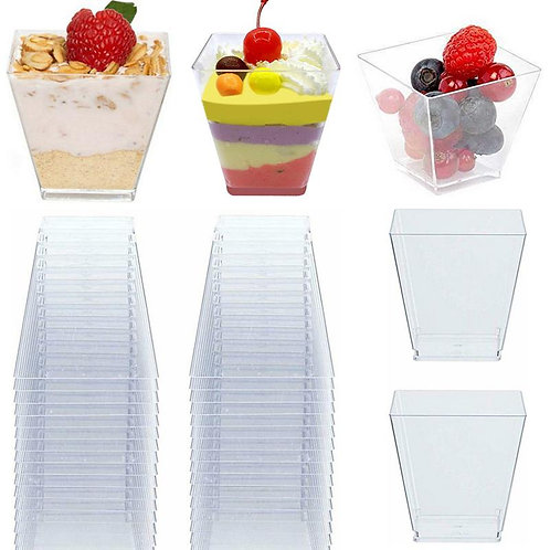 100PCS 60ML Transparent Dessert Cups Trapezoid Square