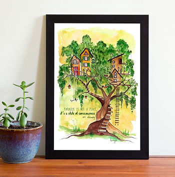treehouse, watercolor, spiritua art, widsom quote, paradis, luraya, digital download, etsy