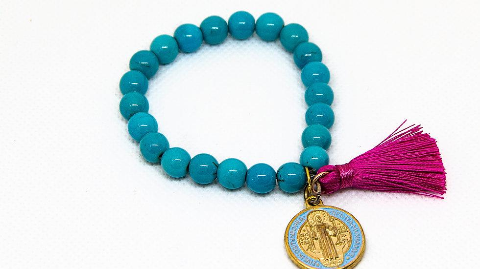 Pulsera Turquesa Medalla y Mota