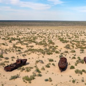 Aral sea which was once flourishing with water has now been deserted due to over gowing of cotton.