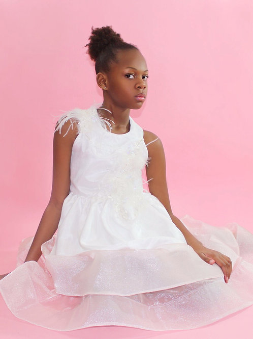 White Satin Girls Flower Girl Dress, Special Occasions Dress