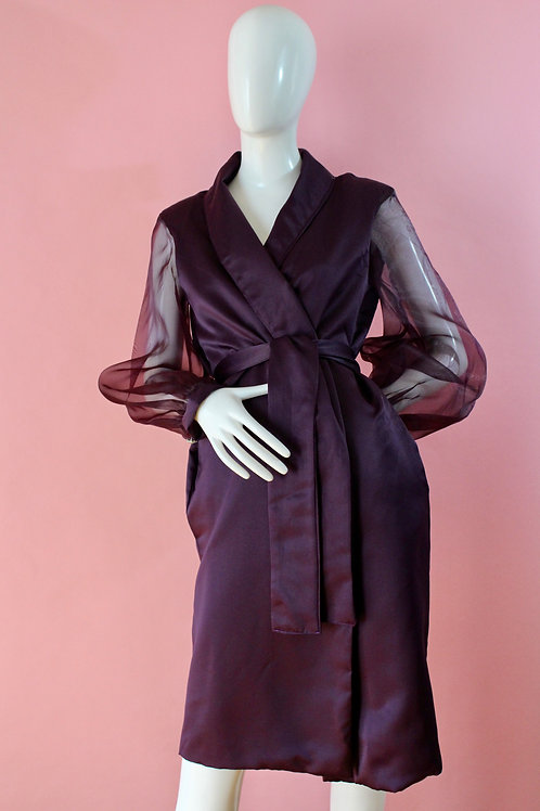 Plum Soft Trench Coat, Special Occasion, Evening Jacket