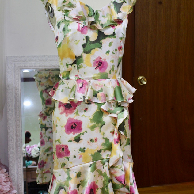 Garden party chic 100% silk custom dress. Learn more about custom design here