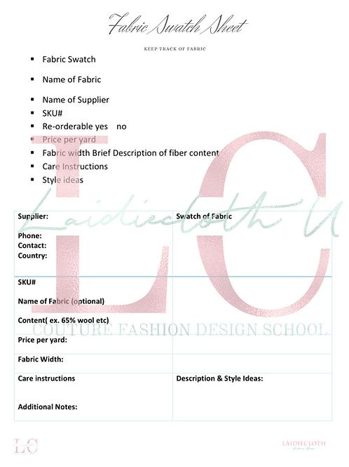 Fabric Reference Sheet,  Fashion Figure Templates