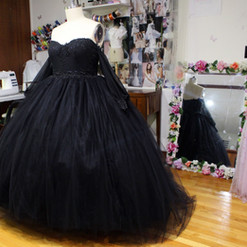 Full View; Custom Tulle Ball gown, for a dark romantic wedding. Learn more about custom design here
