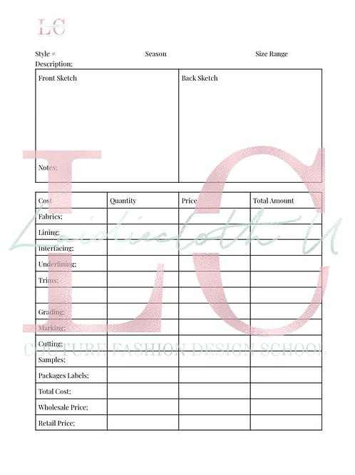 Designer Cost Sheet