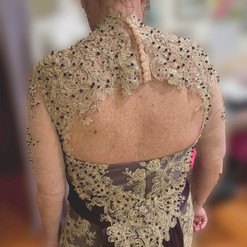 Custom Mother of the groom dress, a true labor of love! This dress was an assortment of hand-beading, lace detailing, silk & jewels, to design this plum perfection! To design your one of a kind dress click here