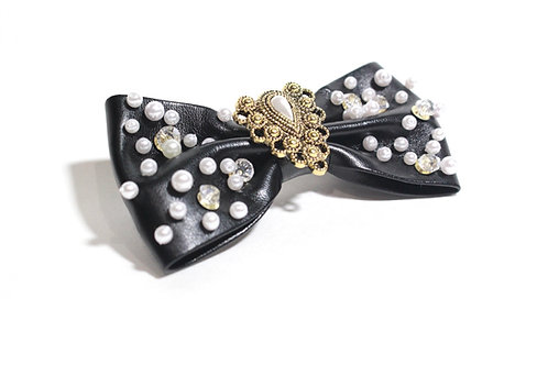 Black Hair Bow, Adult Hair Accessories, Pearls