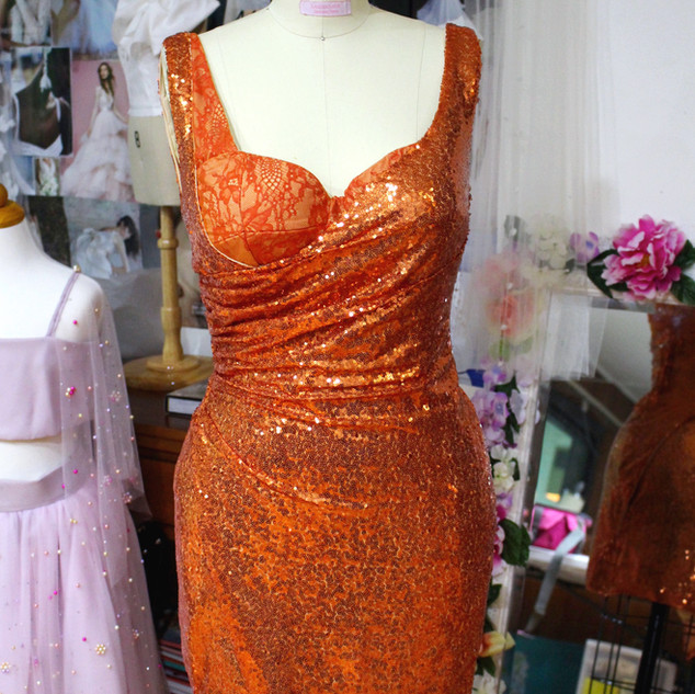 Custom sequin and lace  party dress with built in push up bra. Learn more about custom design here