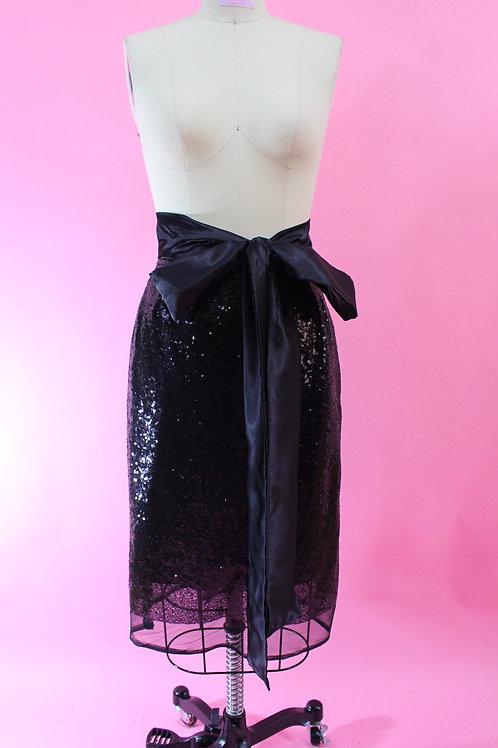 Black Sequin Skirt, Straight Skirt