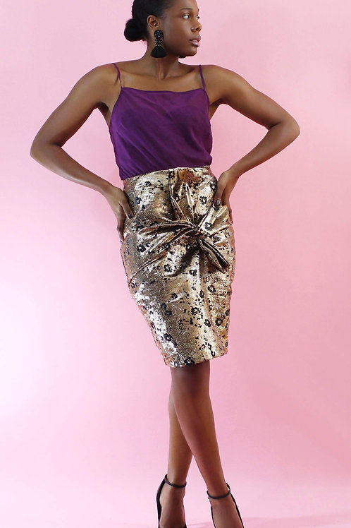 Ladies Metallic Pencil Skirt With Bow