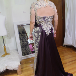 Custom Mother of the groom dress, a true labor of love! This dress was an assortment of handbeading, lace detailing, silk & jewels, to design this plum perfection! To design your one of a kind dress click here