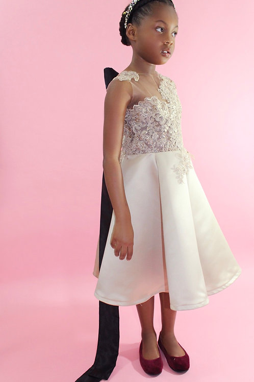 Taupe Lace & Satin Flower Girl Dress, Special Occasion Dress