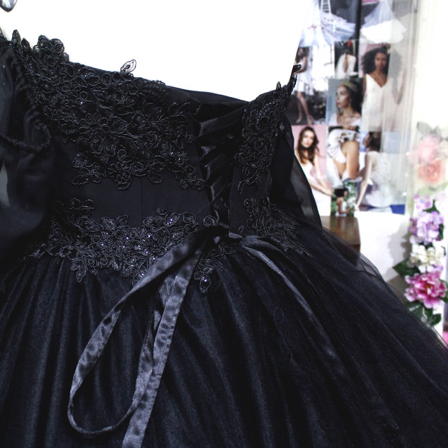 Back; Custom Tulle Ball gown, for a dark romantic wedding. Learn more about custom design here