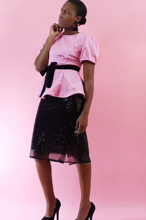 Ladies Peplum Blouse, Puff Sleeved Blouse, Pink Top