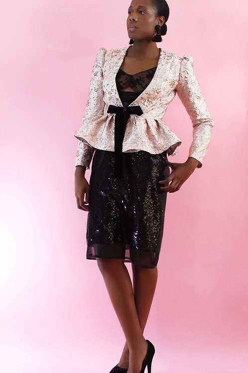 Blazer, Ladies Blush Blazer, Brocade Blazer