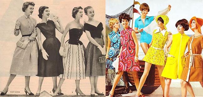 Moda anos 50 vs. moda dos anos 60 (Foto: Reprodução)