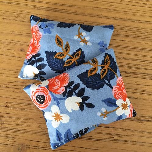 Duo de minis bouillottes fleurs bleu