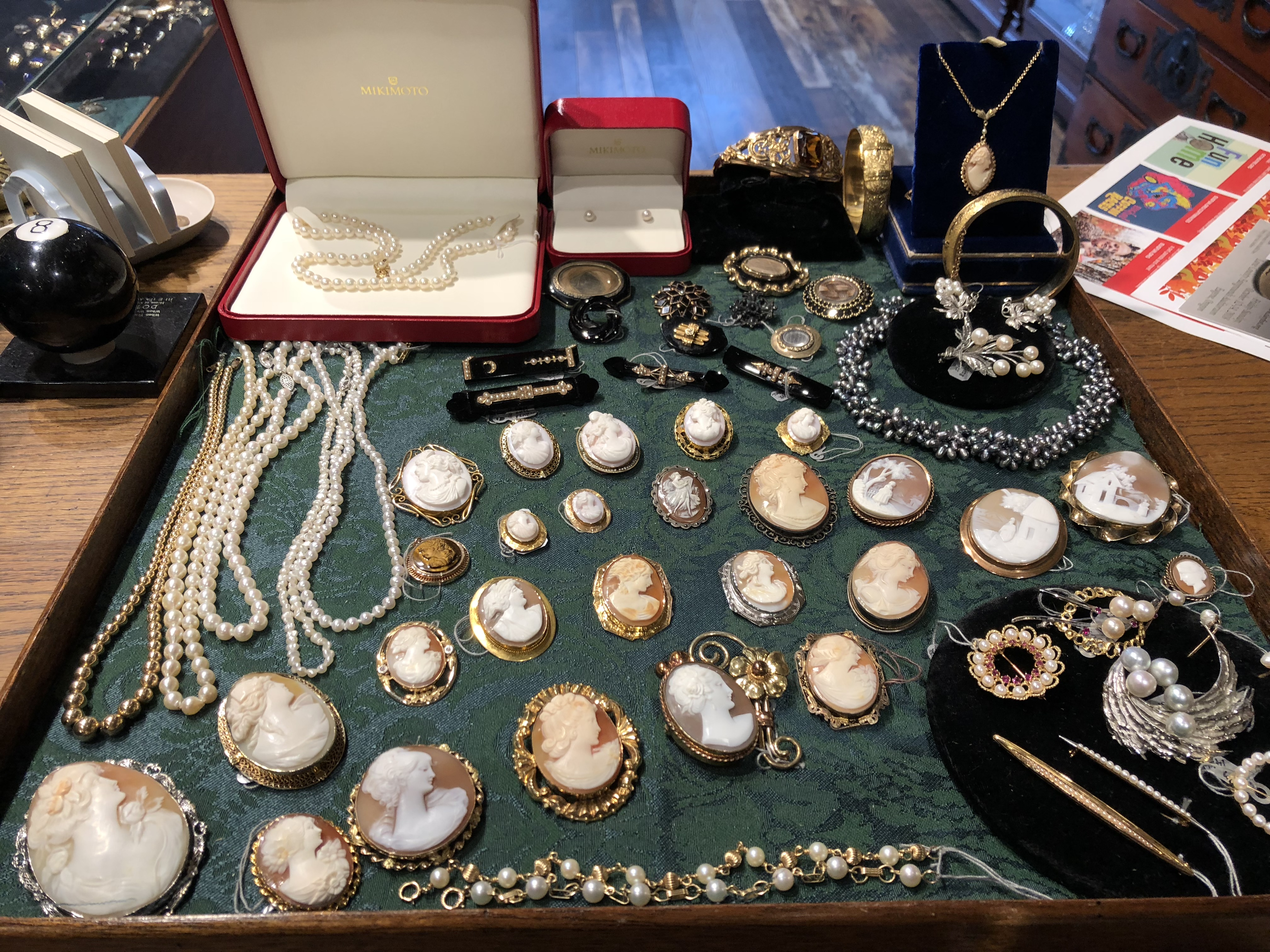 Cameo broaches & pearl jewelry