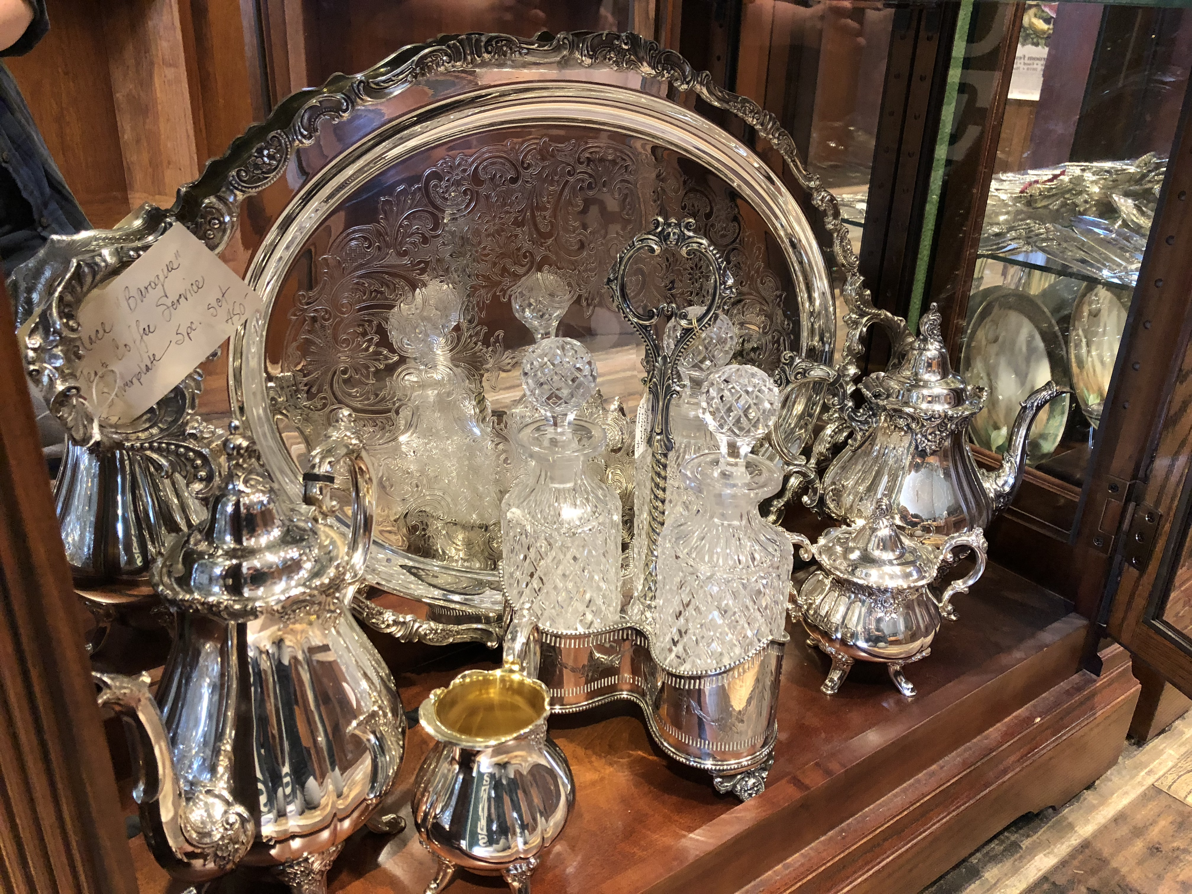 Silver plate tantalus & decanters