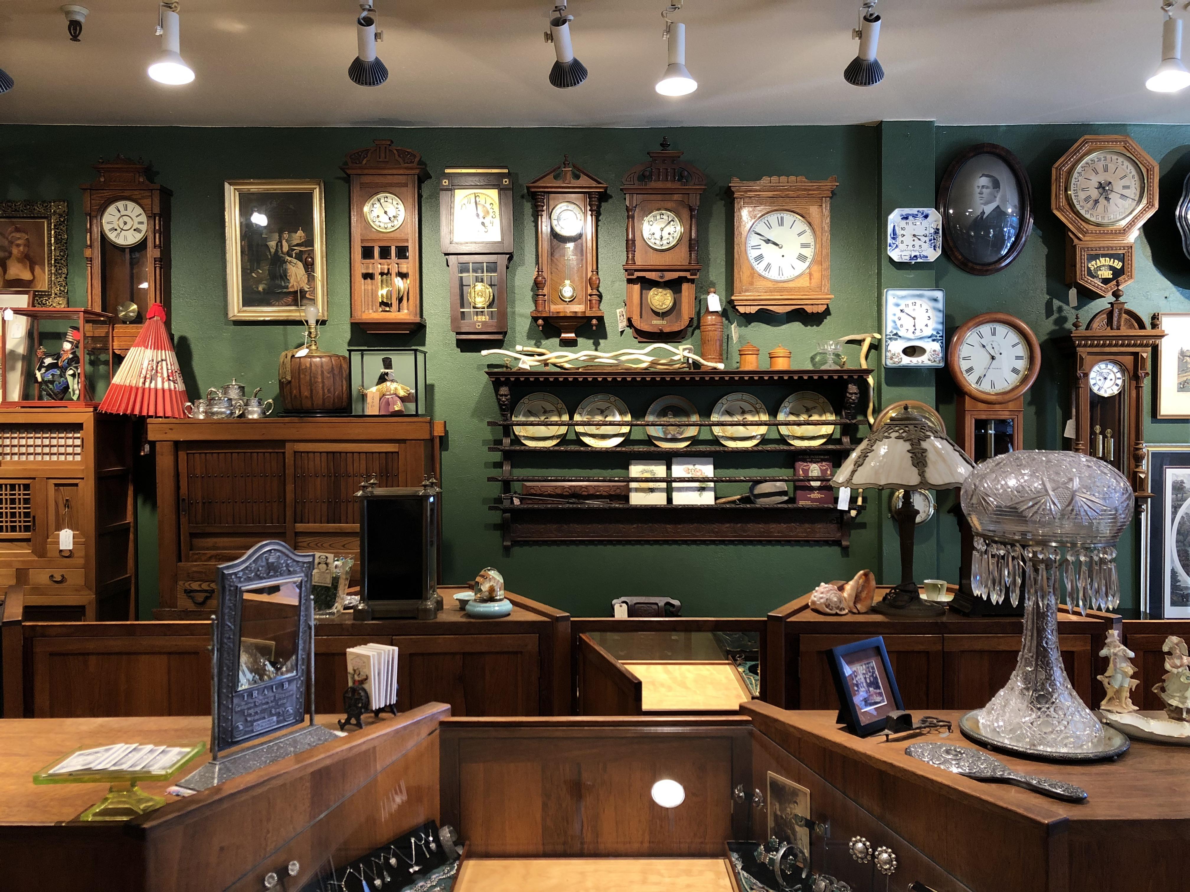 Antique furniture and clocks