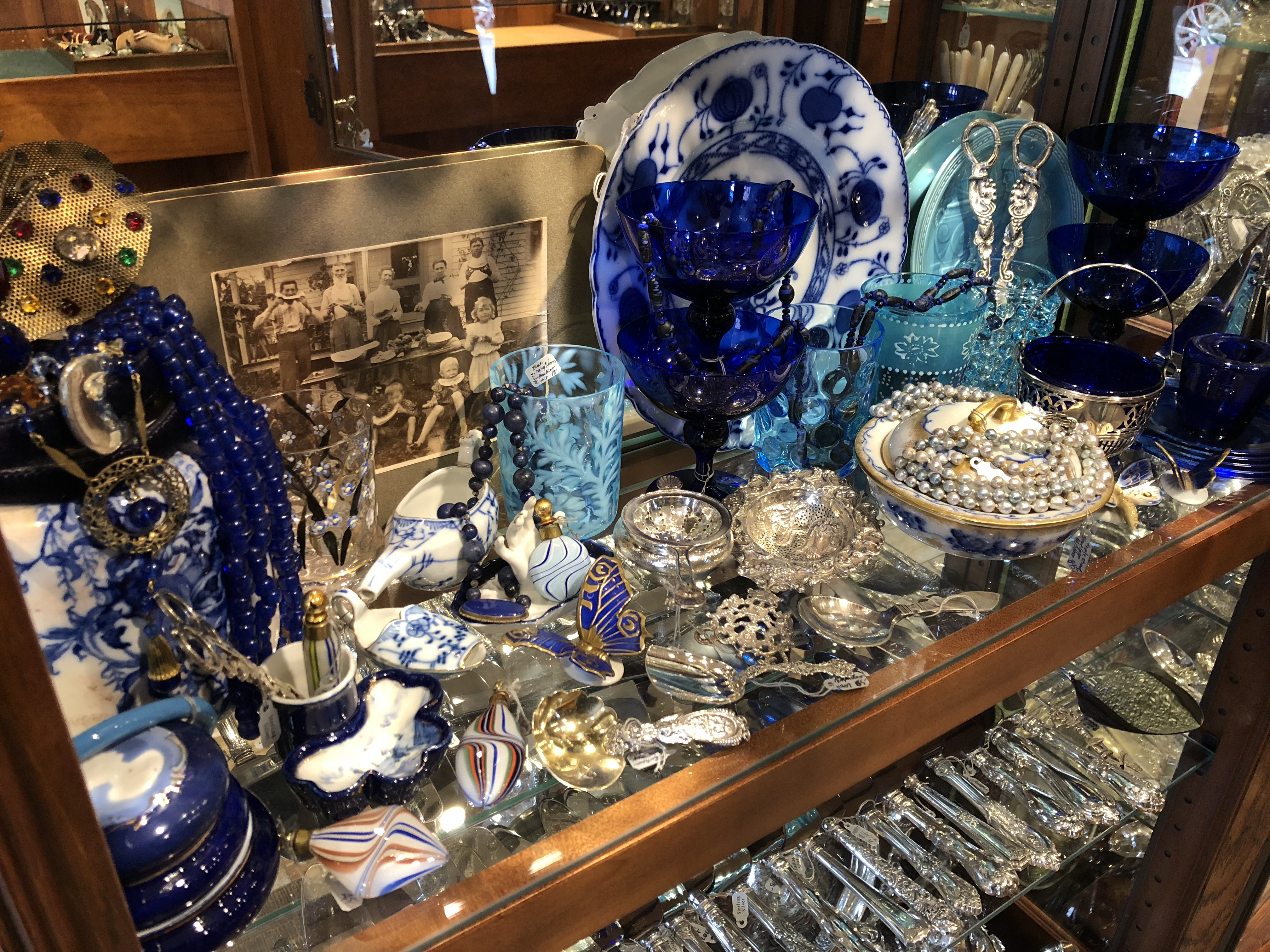 Silver & glass antiques