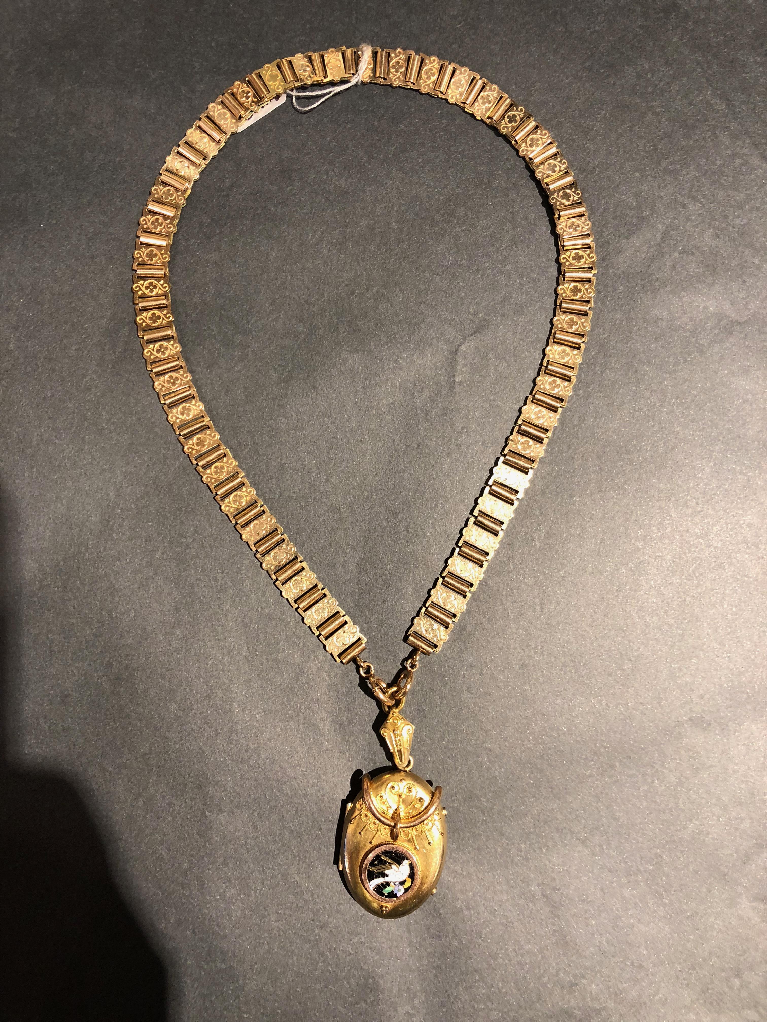1870-80s gold-fill chain & locket