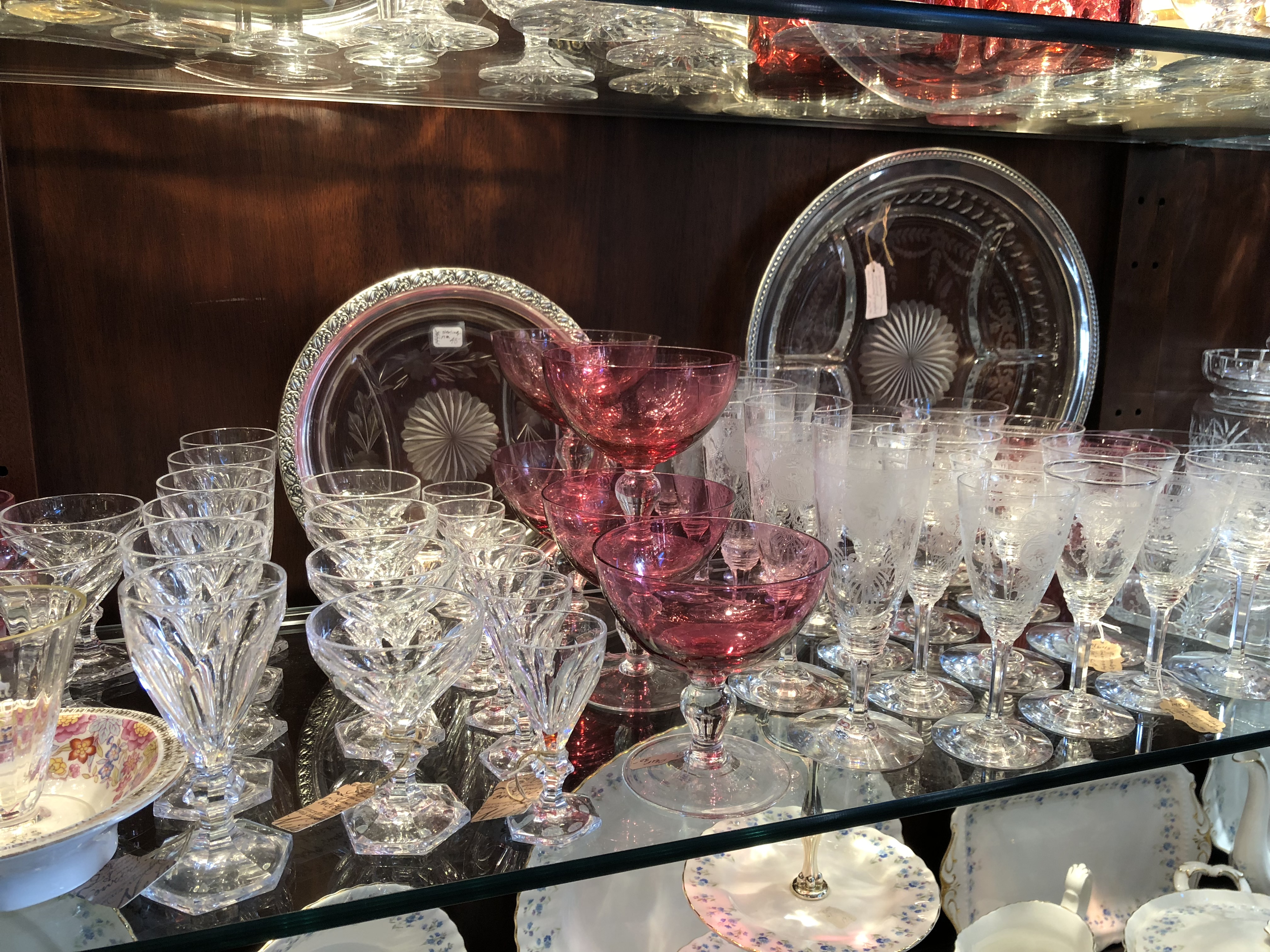 Crystal stemware & cranberry glass